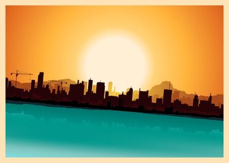 buildings on water: Ilustraci�n de un paisaje de la ciudad dentro de la vendimia paisaje de las monta�as