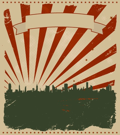 advertisements: Illustration of a cool american grunge-like poster for holidays announcement