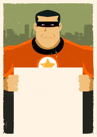 wanted poster: Illustration of a stylized  Hero holding advertisement sign