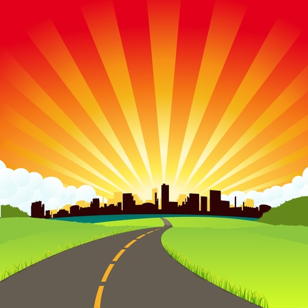 Illustration of a simple cartoon rounded city with nice colors Vector