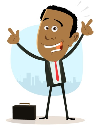 people attitude: Illustration of a cartoon happy afro-american black businessman Illustration