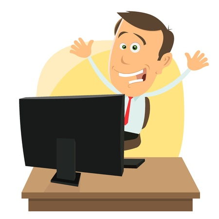 win money: Illustration of a cartoon happy businessman earning money while gaming on internet Illustration