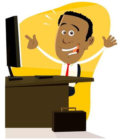 computer cartoon: Illustration of a cartoon afro-american businessman happy and successful