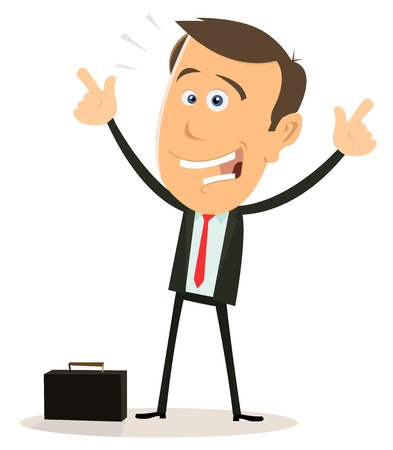 happy business man: Illustration of a happy cartoon businessman on white background Illustration