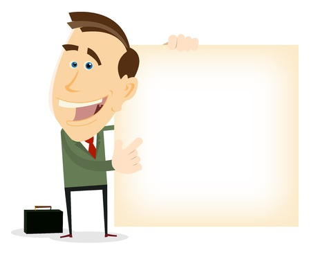 Illustration of a happy cartoon businessman showing an advertismement with text space for your message  イラスト・ベクター素材