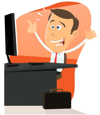 surfing the net: Illustration of a cartoon happy businessman very happy surfing on the net Illustration