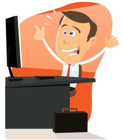 net surfing: Illustrazione di un uomo d'affari cartone animato felice molto felice navigazione in rete