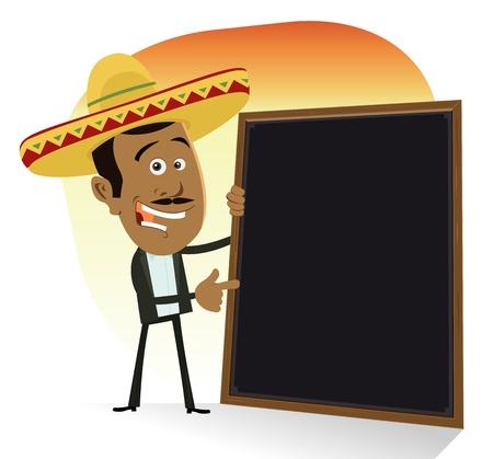 mexican sombrero: Illustrazione di un cuoco fumetto messicano mostra la lista del menu di oggi. Tequila, tacos, enchiladas, tortillas e cibo caldo salsiccia piccante! Vettoriali