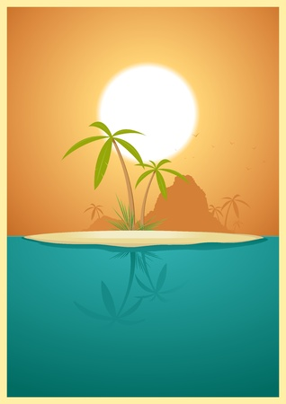 promised: Illustration of a tropical island far far away from civilization for your  vacations