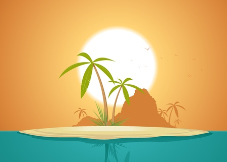 promised: Illustration of an idyllic island far far away from civilization for your  vacations Illustration
