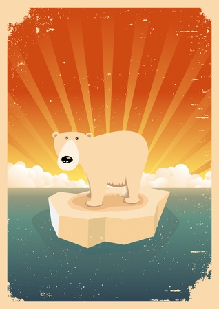 Illustration of a white polar bear alone on an ice floe in the arctic ocean with grunge texture Vector