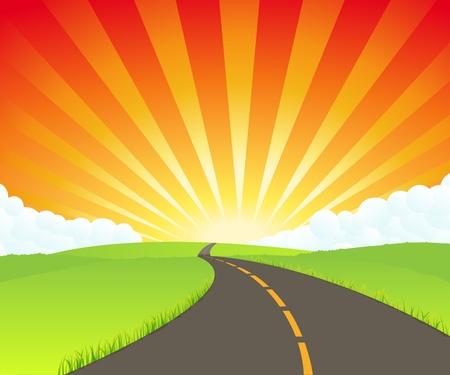 earth road: Illustrazione di una strada cartone animato in estate o in primavera andare in paradiso, che simboleggia l'eternit�, destino o infinito