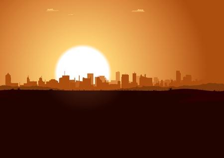 Illustration of a summer urban landscape in the sunrise Vector