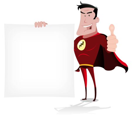 Illustration of a cool cartoon  hero holding sign  Vector
