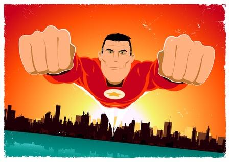 vendicatore: Illustrazione di un eroe volare sopra la citt� Vettoriali