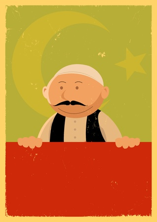 Illustration of a cartoon turkish chef cook, or travel background poster, wwith grunge texture