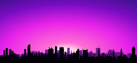 metropole: Illustration of a beautiful dawn on an urban landscape background Illustration