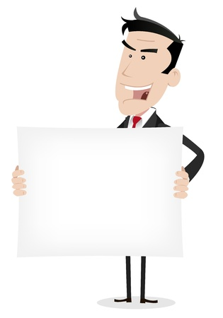 Illustration of a cartoon businessman holding a blank sign Vector