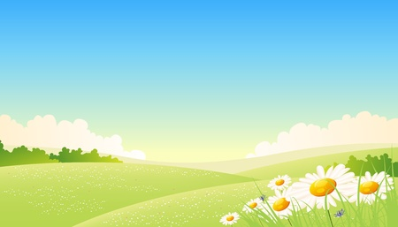 Illustration of a summer or spring seasonal landscape poster background, with flowers at the foreground Vector