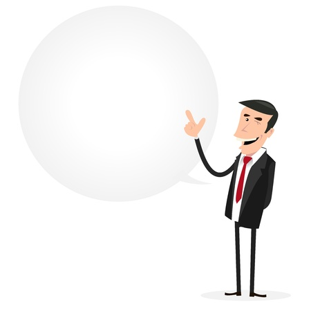 vendor: Illustration of a cartoon businessman with big bubble speech for your message