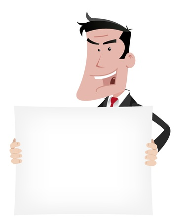 Illustration of a seductive, attractive elegant cartoon businessman holding  advertisement sign for your communication Vector