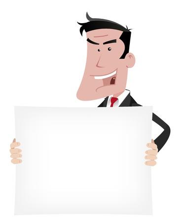 seductive: Illustration of a seductive, attractive elegant cartoon businessman holding  advertisement sign for your communication