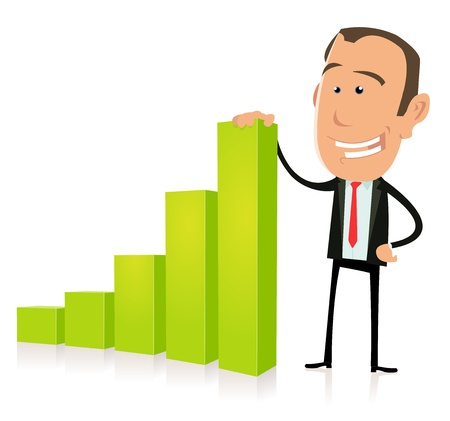 stock trader: Illustration of a cartoon businessman showing benefits bar graph