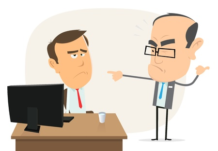Illustration of a cartoon scene with boss bothering an employee Иллюстрация