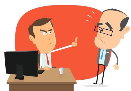 Ilustración de un hombre de negocios dibujos animados enojado insultar a su jefe tonto