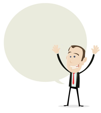 incomes: Illustration of a cartoon businessman banner, very happy because of big incomes !