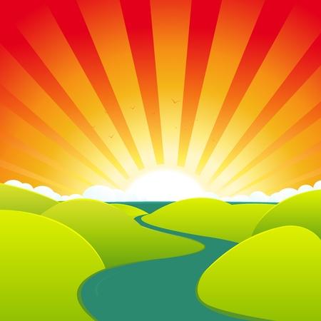 paysage dessin anim�: Illustration d'un ressort ou d'un paysage anim� l'�t�, de la rivi�re menant � l'oc�an