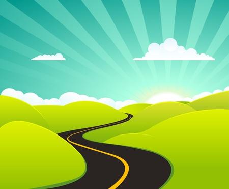 Ilustración de un verano de dibujos animados o un paisaje de primavera, con la carretera que va hacia el horizonte