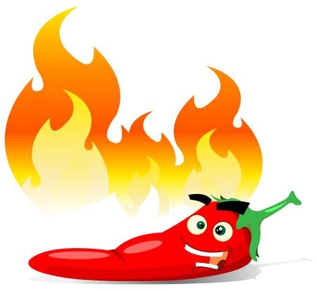 brandweer cartoon: Illustratie van een cartoon vrolijke rode peper kruiden karakter