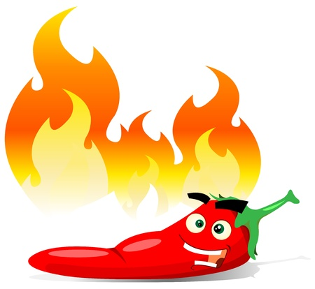 Illustration of a cartoon happy red pepper spice character Illustration