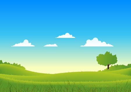 Illustration of a cartoon spring or summer seasons landscape Vector