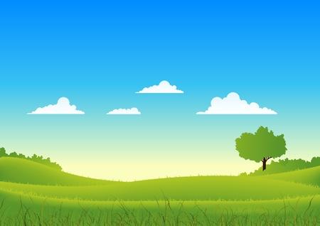 clouds cartoon: Ilustraci�n de un paisaje de primavera de dibujos animados o estaciones verano