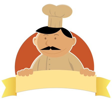Illustration of a happy cartoon cook food banner for your label Vector