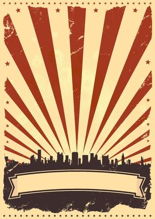Illustration d'un fond d'affiches vintage pour la célébration du quatrième mois de juillet, les vacances américaines ou jour de l'indépendance.