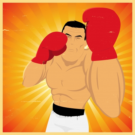 beefy: Illustration of a grunge vintage cartoon boxer doing an uppercut for sports  poster background