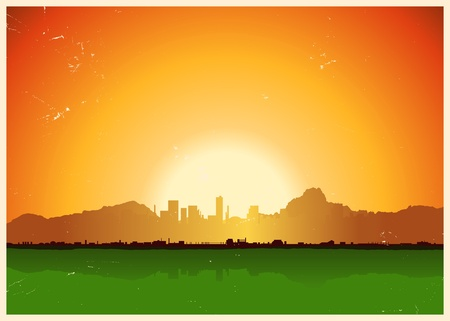 Illustration of a grunge city landscape inside mountains landscape Vector