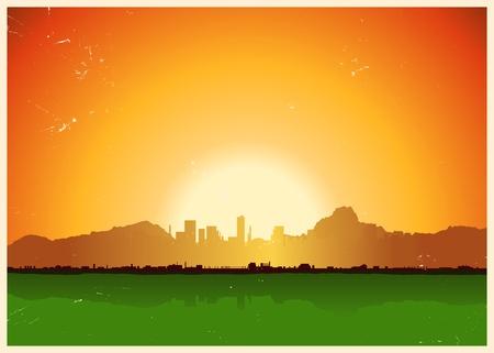 Illustration of a grunge city landscape inside mountains landscape Vector