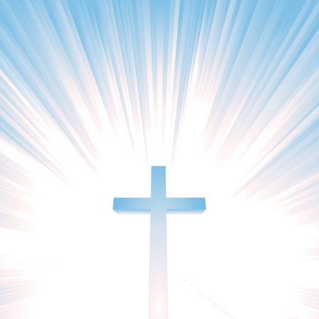 Ilustration of a christian cross with star burst behind, symbolizing heaven, eternity
