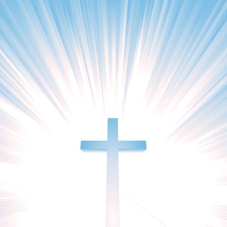 kruzifix: Ilustration von einem christlichen Kreuz mit Stern sprengte hinter, als Symbol f�r den Himmel, die Ewigkeit