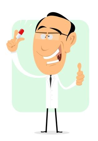 медик: Иллюстрация мультипликационный врача, проведение волшебной таблетки или лекарство Иллюстрация
