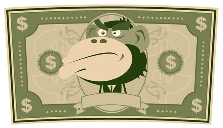 Illustration of a cartoon american US dollar bill, with monkey businessman inside