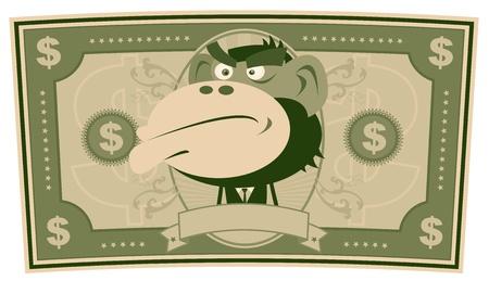 mono caricatura: Ilustraci�n de un proyecto de ley de dibujos animados estadounidense d�lar de EE.UU., con el empresario mono dentro