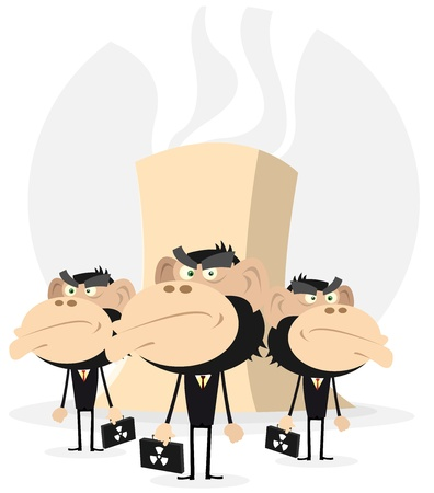 powerhouse: Illustration of Cartoon Monkey Businessmen in black, symbolizing the power of nuclear business