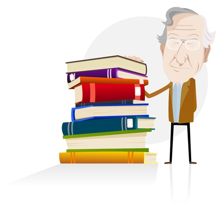 Illustration of a cartoon highschool science teacher standing next to a big pile of books, symbolizing power of reading and knowledge
