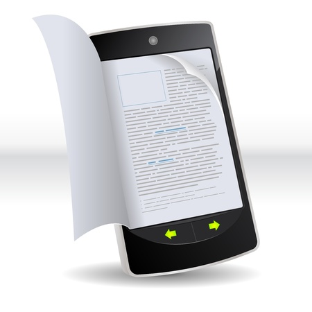 article: Illustration of a smartphone e-book with realistic pages flipping effect. Imaginary model of e-book not made from a real existing smartphone