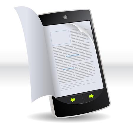 effortless: Ilustraci�n de un tel�fono inteligente del e-libro con las p�ginas reales volteando efecto. Modelo imaginario de los libros electr�nicos que no sean de un smartphone realmente existente Vectores